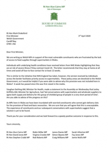 Welsh MPs Letter